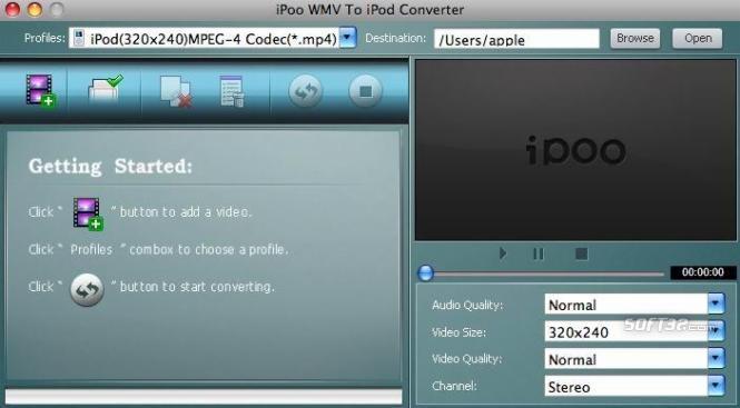 iPoo WMV to iPod Converter for Mac Screenshot 2
