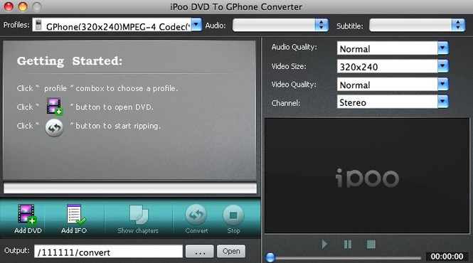 iPoo DVD to GPhone Converter for Mac Screenshot 1