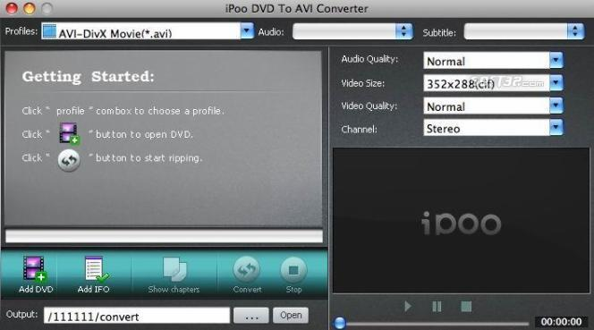 iPoo DVD to AVI Converter for Mac Screenshot 1