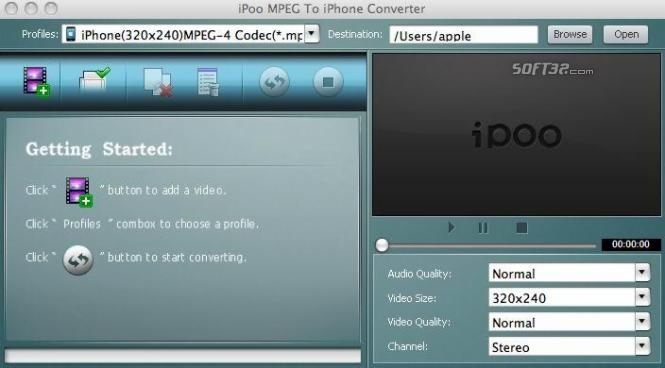 iPoo MPEG to iPhone Converter for Mac Screenshot 2