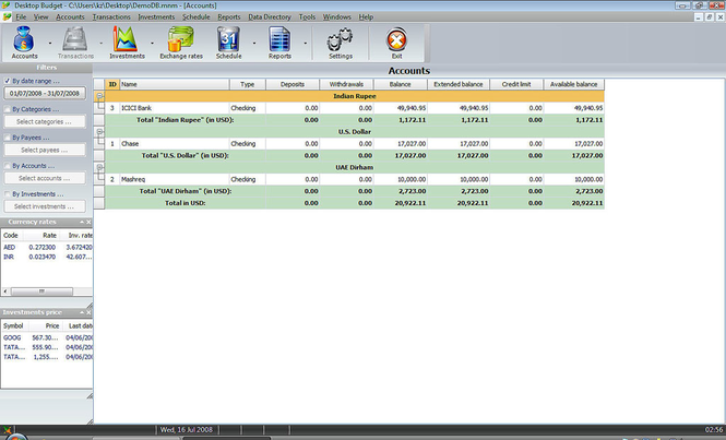 Desktop Budget Lite Screenshot 1