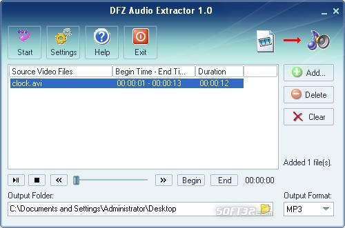 DFZ Audio Extractor Screenshot