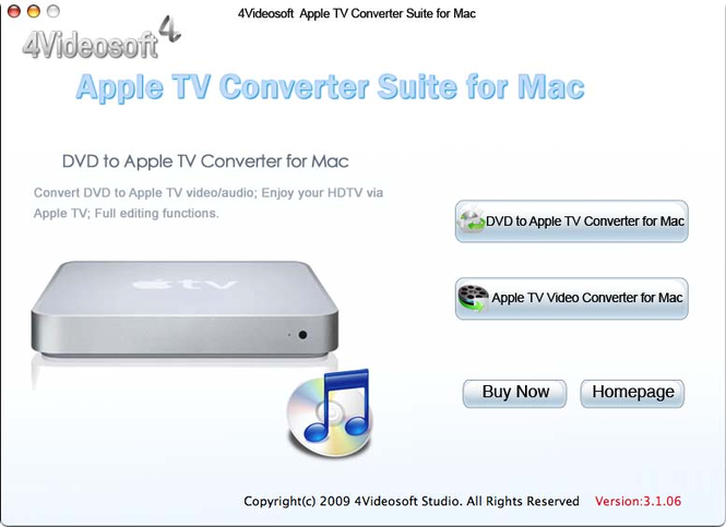 4Videosoft Mac Apple TV Converter Suite Screenshot