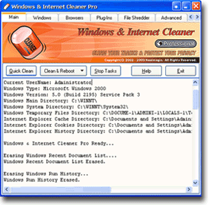 Windows & Internet Cleaner Pro Screenshot