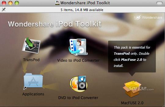 Wondershare iPod ToolKit for Mac Screenshot