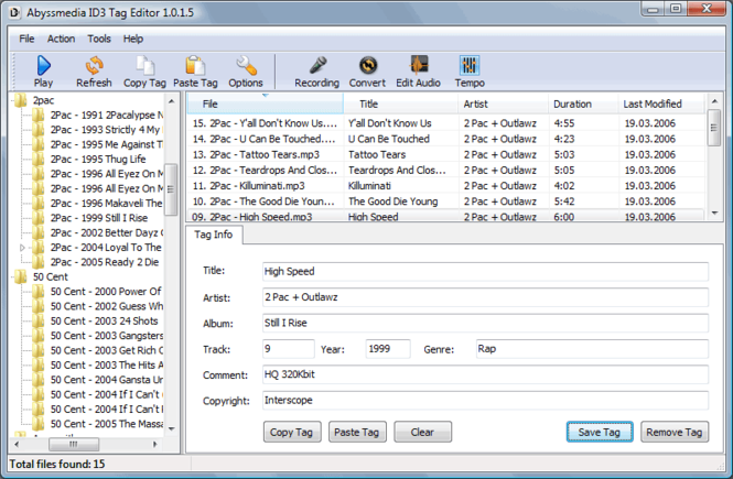 Abyssmedia ID3 Tag Editor Screenshot 1