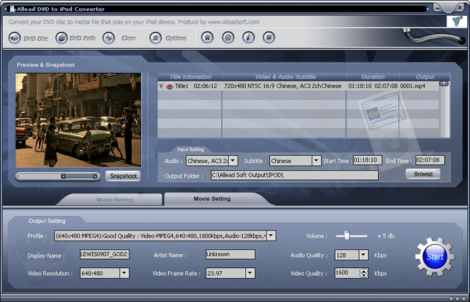 Allead DVD to iPod Converter Screenshot