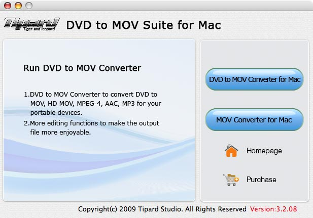 Tipard DVD to MOV Suite for Mac Screenshot