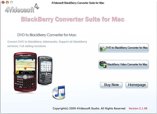 BlackBerry Converter Suite for Mac Screenshot 1