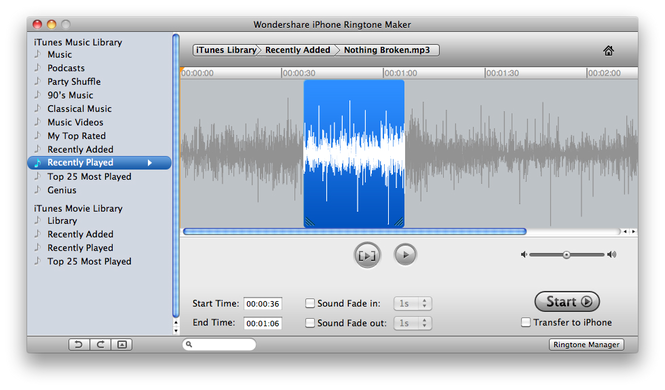 Wondershare Ringtone Maker for Mac Screenshot