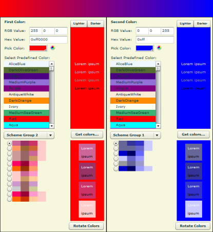 Aries Color Scheme Wizard Screenshot 1