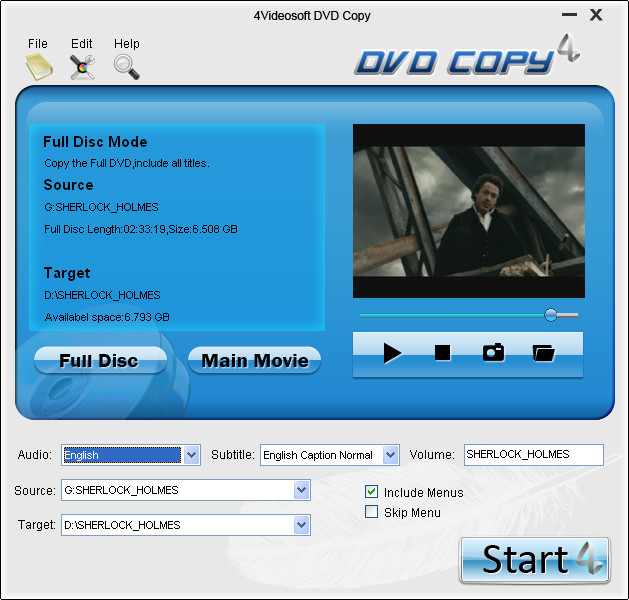 4Videosoft DVD Copy Screenshot