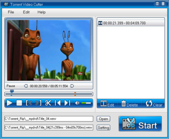 Torrent Wmv Video Cutter Screenshot 1