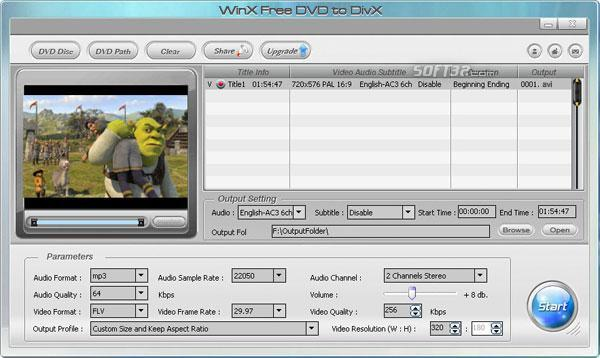 WinX Free DVD to DivX Ripper Screenshot 3