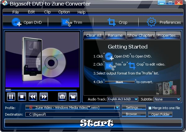Bigasoft DVD to Zune Converter Screenshot 1