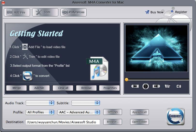 Aiseesoft M4A Converter for Mac Screenshot