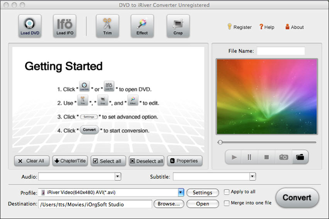 DVD to iRiver Converter for Mac Screenshot