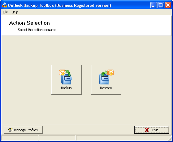Outlook Backup Toolbox Screenshot