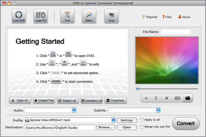 DVD to Gphone Converter for Mac Screenshot