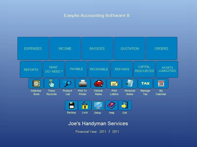 EasyAs Accounting Software Screenshot