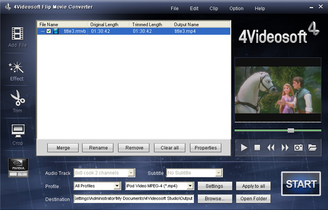 4Videosoft Flip Movie Converter Screenshot