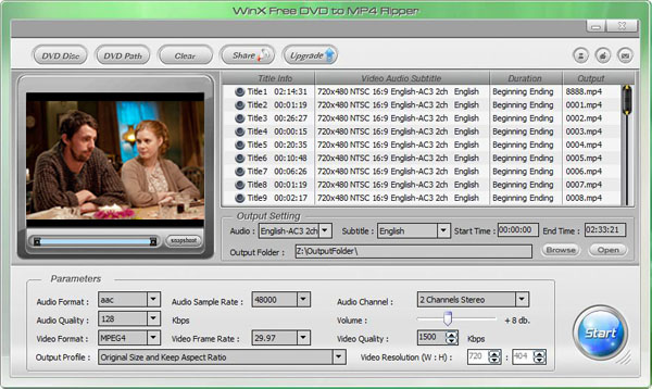WinX Free DVD to MP4 Ripper Screenshot 1