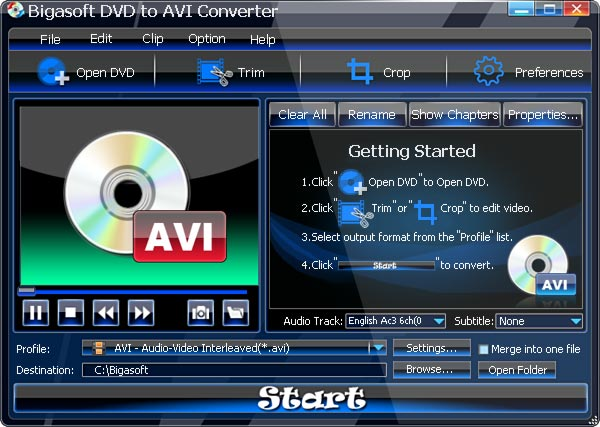 Bigasoft DVD to AVI Converter Screenshot