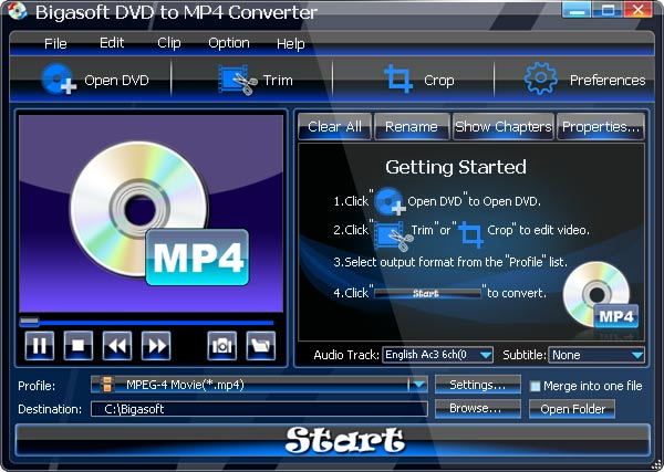 Bigasoft DVD to MP4 Converter Screenshot