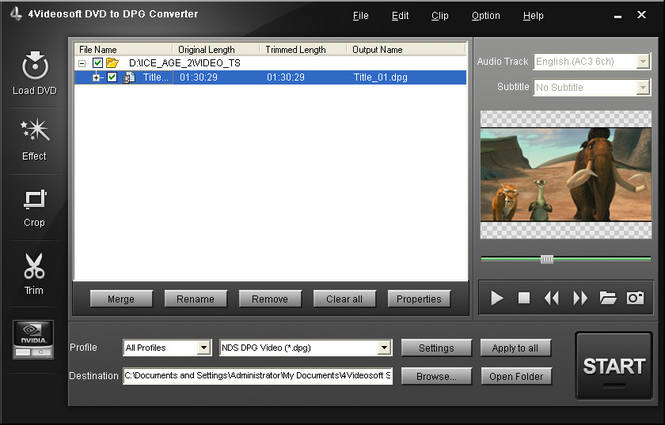 4Videosoft DVD to DPG Converter Screenshot