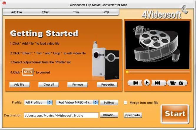 4Videosoft Flip Movie Converter for Mac Screenshot 2