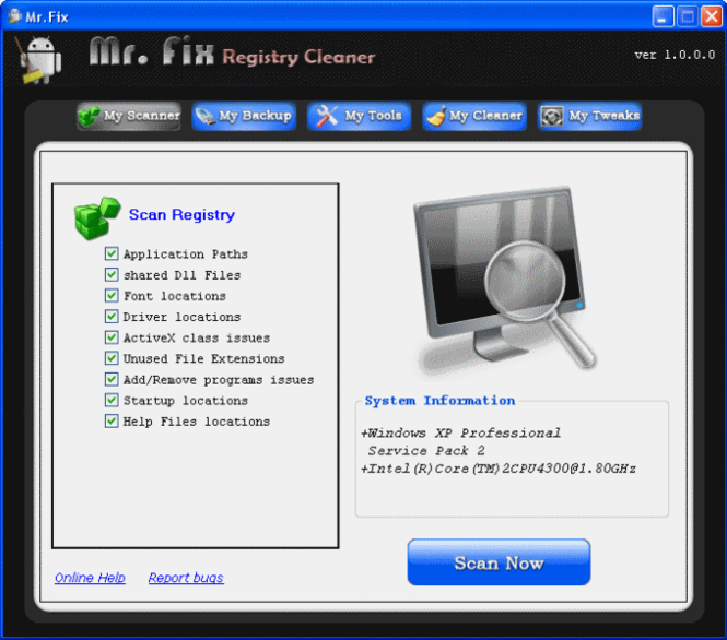 Mr Fix Registry Cleaner Screenshot