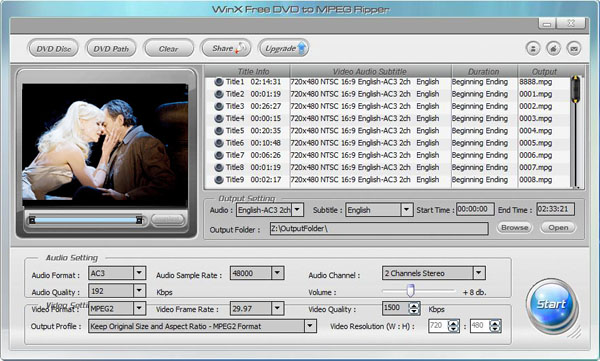 WinX Free DVD to MPEG Ripper Screenshot 1
