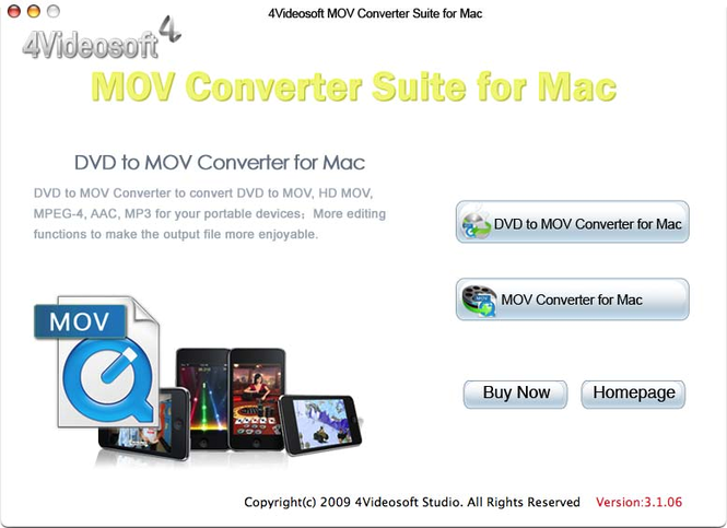 4Videosoft MOV Converter Suite for Mac Screenshot 1