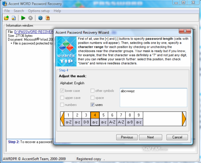 Accent WORD Password Recovery Screenshot 3