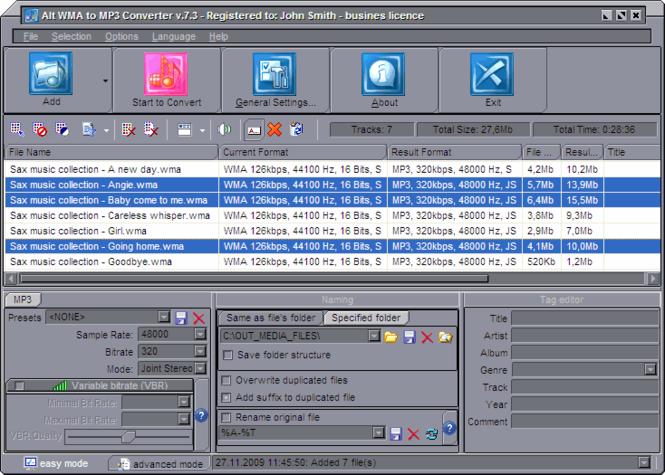 Alt WMA to MP3 Converter Screenshot