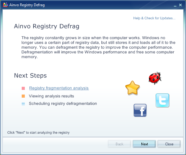 Ainvo Registry Defrag Screenshot