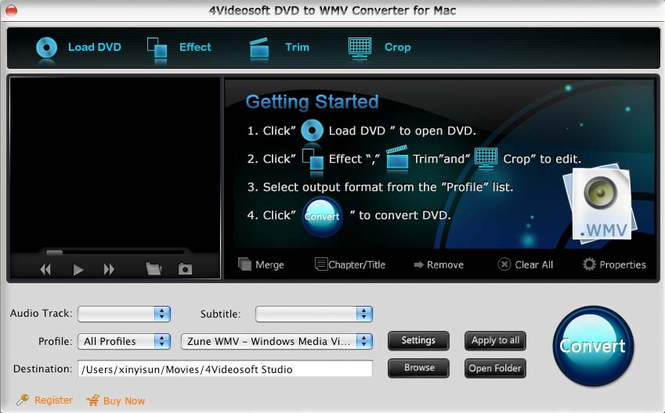 4Videosoft DVD to WMV Converter for Mac Screenshot 1