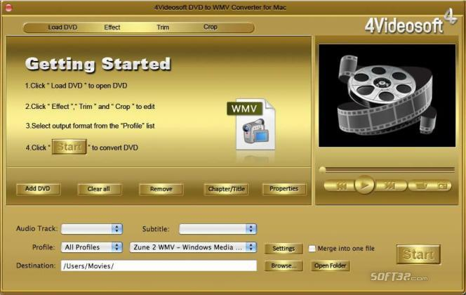 4Videosoft DVD to WMV Converter for Mac Screenshot 3