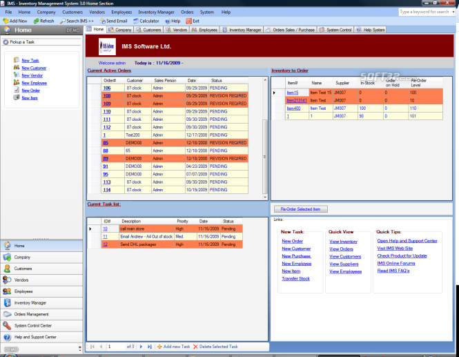 IMS System Screenshot
