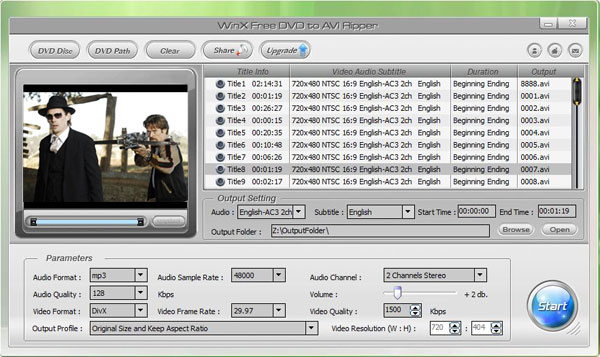 WinX Free DVD to AVI Ripper Screenshot
