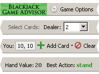 Blackjack Game Advisor Screenshot