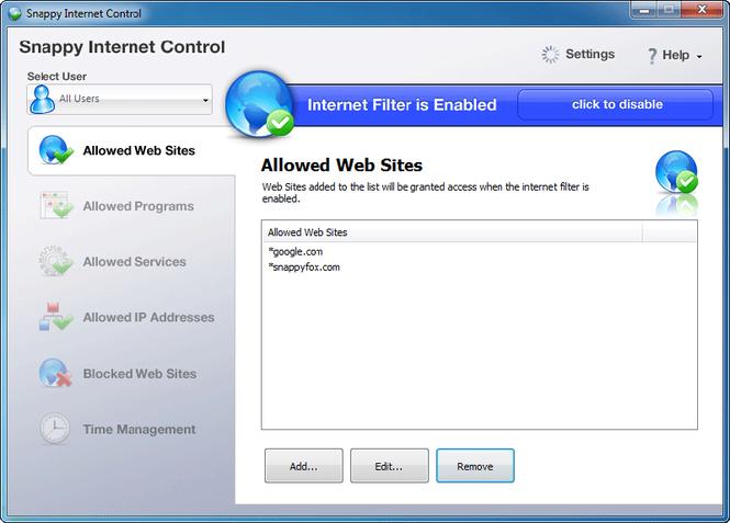 Snappy Internet Control Screenshot 1