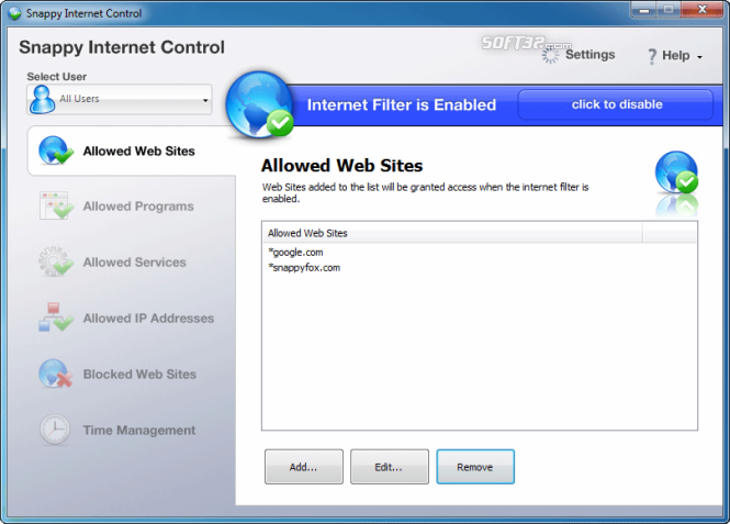 Snappy Internet Control Screenshot 3