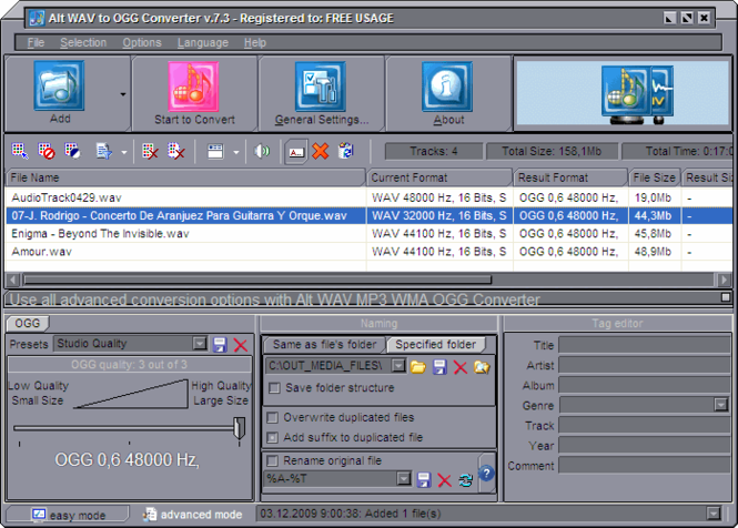 Alt WAV to OGG Converter Screenshot 1