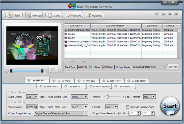 WinX HD Video Converter Screenshot