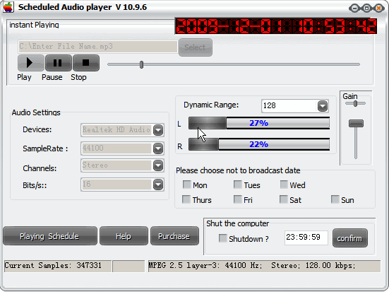 Scheduled Audio Player Screenshot 1