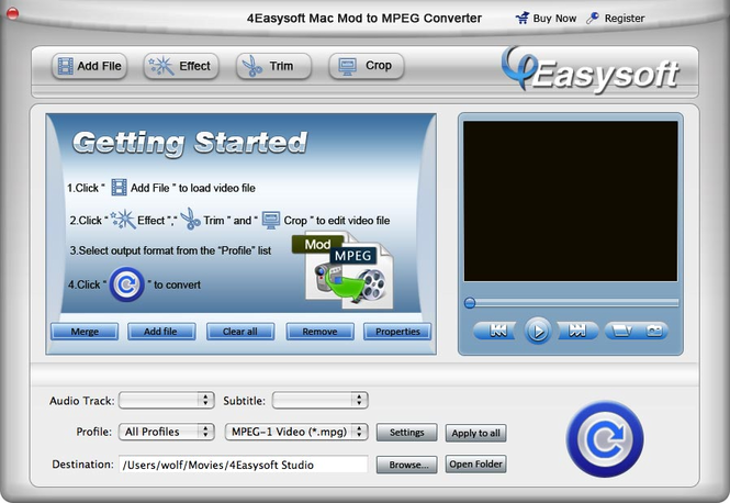 4Easysoft Mac Mod to MPEG Converter Screenshot 1