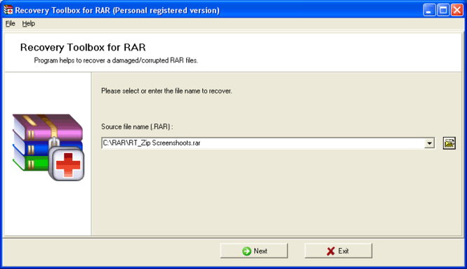 Recovery Toolbox for RAR Screenshot