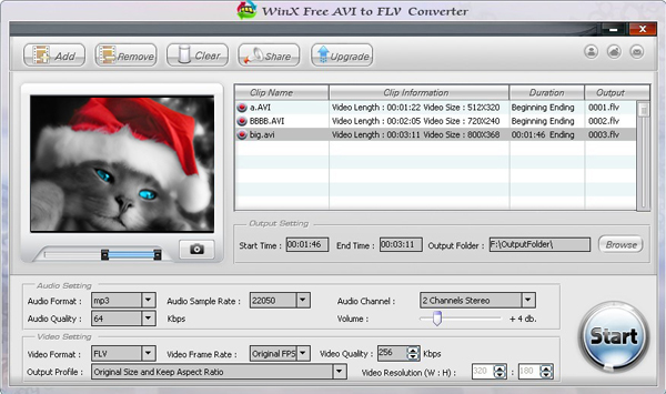 WinX Free AVI to FLV Converter Screenshot