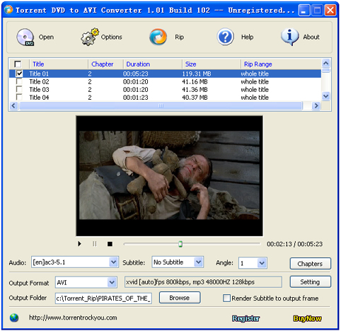 Torrent DVD to AVI Converter Screenshot 1